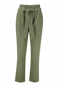 Womens Tailored Tie Waist Denim Trouser - green - 16, Green