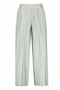 Womens Metallic Pleated Wide Leg Culottes - grey - S, Grey