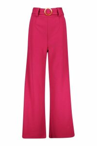 Womens O Ring Wide Leg Tailored Trousers - pink - 14, Pink