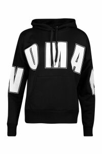 Womens Woman Oversized Slogan Hoodie - black - 16, Black
