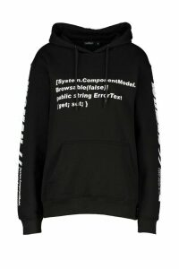 Womens Woman Sleeve Print Graphic Hoodie - black - M, Black