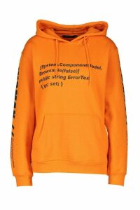 Womens Woman Sleeve Print Graphic Hoodie - orange - M, Orange