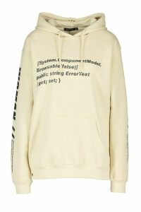 Womens Woman Sleeve Print Graphic Hoodie - beige - S, Beige