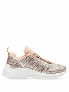 Miu Miu crystal embellished sneakers - NEUTRALS