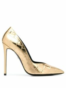 Grey Mer crocodile-effect pointed pumps - GOLD