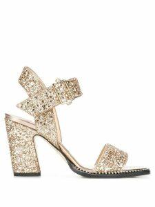 Jimmy Choo Minase 85mm glitter sandals - GOLD