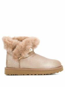Ugg Australia faux fur flat ankle boots - Brown