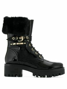 Love Moschino buckled ankle biker boots - Black