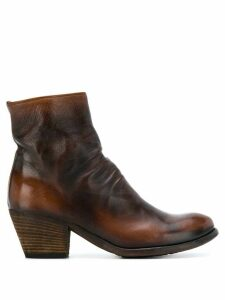 Officine Creative Giselle ruched ankle boots - Brown