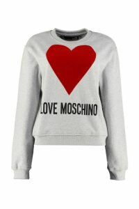 Love Moschino Logo Print Cotton Crew-neck Sweatshirt
