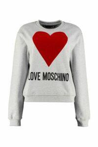 Love Moschino Logo Print Cotton Crew-neck Sweatshirt