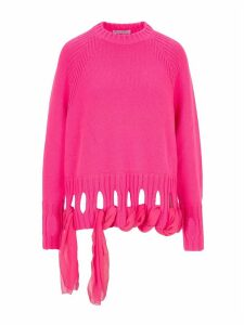 Jw Anderson Georgette Drapes Crewneck Sweater