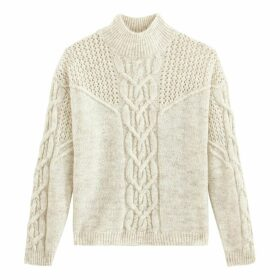Chunky Cable Knit Jumper with High Neck