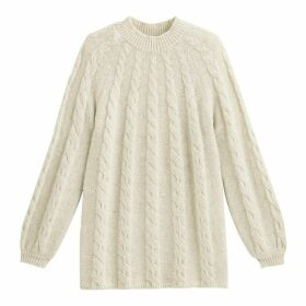 Long Cable Knit Tunic Jumper with Crew Neck and Balloon Sleeves