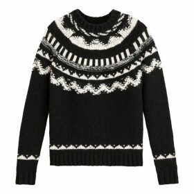 Wool Mix Jacquard Jumper in Fair Isle Pattern