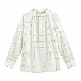 Crew-Neck Checked Blouse
