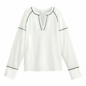 Long-Sleeved V-Neck Blouse