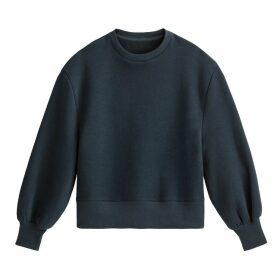 Oversized Puff Sleeve Sweatshirt in Cotton Mix with Crew Neck