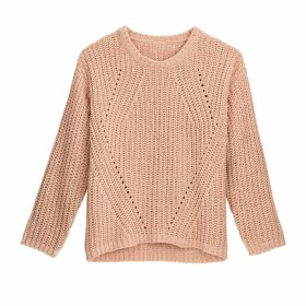 Chunky Knit Openwork Chenille Jumper with Crew Neck