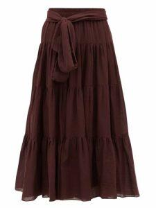 Loup Charmant - Demeter Tiered Cotton Midi Skirt - Womens - Dark Purple
