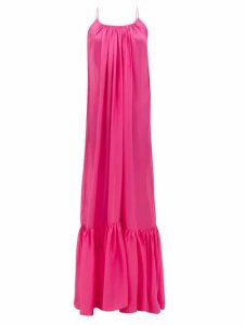 Kalita - Brigitte Habotai-silk Maxi Dress - Womens - Pink