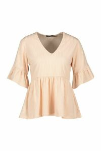 Womens Ribbed V Neck Frill Sleeve Smock Top - pink - 10, Pink