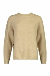 Womens Oversized Drop Shoulder Jumper - beige - S, Beige