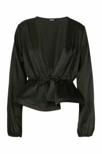 Womens Satin Tie Waist Peplum Top - black - 14, Black