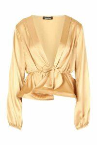 Womens Satin Tie Waist Peplum Top - beige - 14, Beige