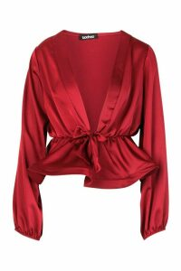 Womens Satin Tie Waist Peplum Top - red - 6, Red