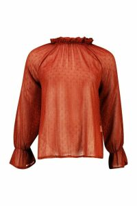 Womens Dobby Spot Cold Shoulder High Neck Top - orange - 8, Orange