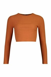 Womens Layered Contrast Super Soft Ribbed Long Sleeve Top - orange - 16, Orange