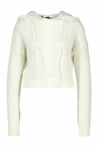 Womens Knitted Cropped Hoodie - white - M, White