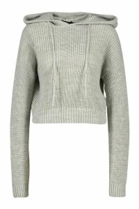 Womens Knitted Cropped Hoodie - grey - L, Grey