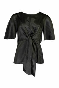 Womens Satin Tie Front Blouse - black - 14, Black