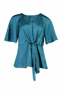 Womens Satin Tie Front Blouse - green - 8, Green