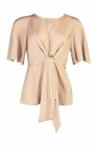 Womens Satin Tie Front Blouse - beige - 14, Beige