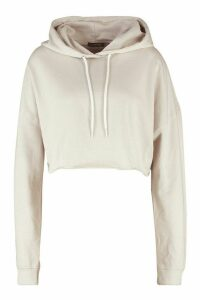 Womens The Basic Cropped Hoody - Cream - 14, Cream