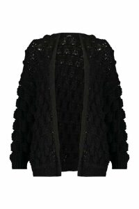 Womens Bobble Knit Cardigan - black - L, Black