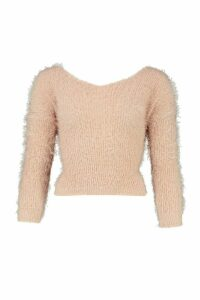 Womens Knot Back Feather Knit Jumper - pink - M/L, Pink