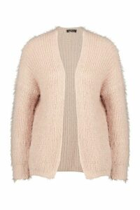 Womens Feather Knit Cardigan - pink - L, Pink