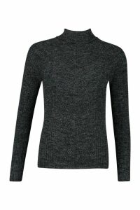 Womens Roll Neck Panel Rib Knit Jumper - black - XS, Black