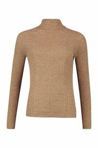 Womens Roll Neck Panel Rib Knit Jumper - beige - XS, Beige