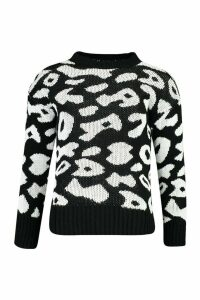 Womens Animal Leopard Jumper - Black - L, Black