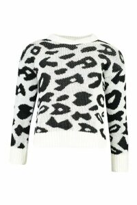 Womens Animal Leopard Jumper - white - L, White