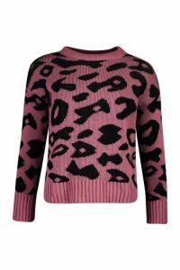 Womens Animal Leopard Jumper - Pink - L, Pink