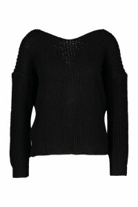 Womens Twist Knot Back Jumper - black - L, Black