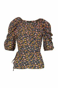 Womens Woven Floral Puff Sleeve Wrap Blouse - blue - 10, Blue