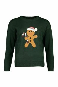 Womens Sequin Detail Gingerbread Man Christmas Jumper - Green - M, Green