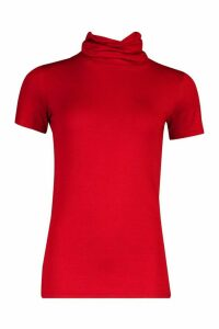Womens Ruched Roll Neck Short Sleeved Top - red - 12, Red